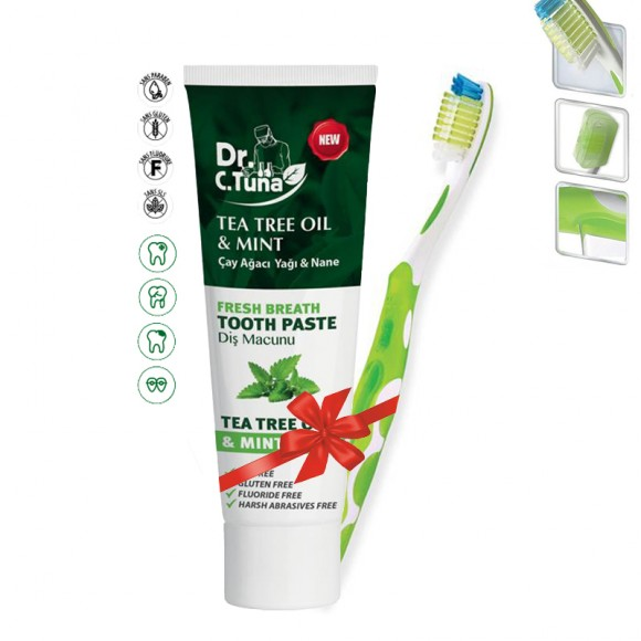 Farmasi Tunisie - Lot Dentifrice Tea Tree Menthe 112g & Brosse à Dents Farmasi Référence 9700573-1113527