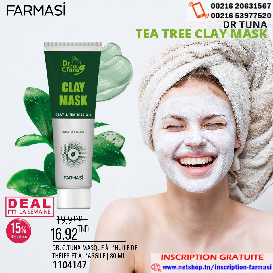 Deal de la semaine FARMASI réduction de 15% sur le Dr C.Tuna Clay Mask qui passe à 16.920 TND au lieu de 19.900 TND