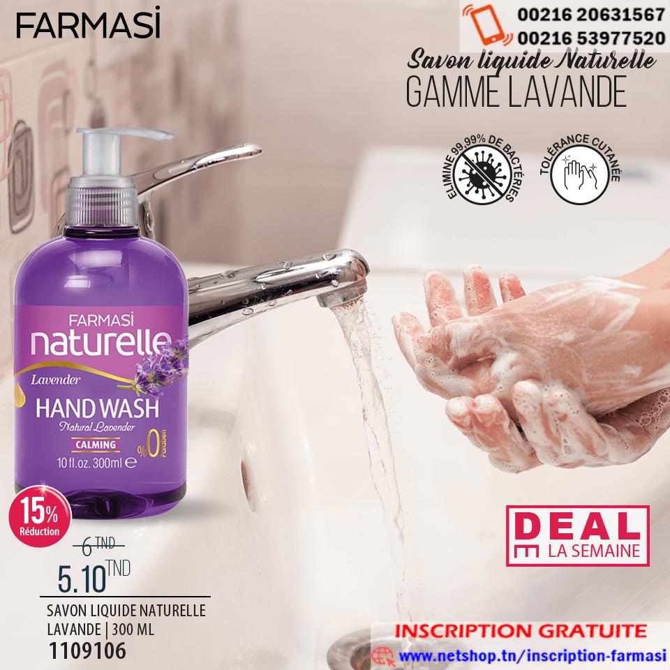 Deal de la semaine farmasi tunisie le savon liquide naturelle lavande avec 15% de réduction qui vous revient à 5.100 TND au lieu de 6.000 TND